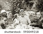 multi generation family... | Shutterstock . vector #593049218