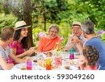 multi generation family...   Shutterstock . vector #593049260