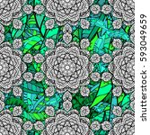 vector green mehndi seamless... | Shutterstock .eps vector #593049659
