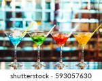 multicolored cocktails at the... | Shutterstock . vector #593057630