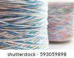the red and blue sewing spools | Shutterstock . vector #593059898
