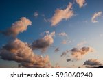 romantic sunset sky with fluffy ... | Shutterstock . vector #593060240