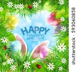 vector easter background with... | Shutterstock .eps vector #593060858