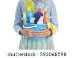 woman with cleaning equipment... | Shutterstock . vector #593068598