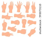 collection of hand gestures... | Shutterstock .eps vector #593073110