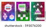set of flyer template layout ... | Shutterstock .eps vector #593076200
