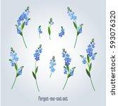 set of vintage flowers elements.... | Shutterstock .eps vector #593076320