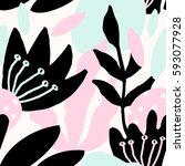 seamless repeat pattern with... | Shutterstock .eps vector #593077928