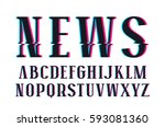 decorative serif font with... | Shutterstock .eps vector #593081360