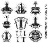 set of the badges with... | Shutterstock .eps vector #593082173