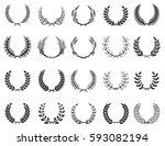 set of wreaths isolated on... | Shutterstock .eps vector #593082194