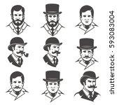 set of gentleman's heads... | Shutterstock .eps vector #593083004