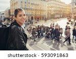 young traveler woman admiring... | Shutterstock . vector #593091863
