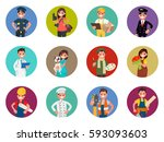 set of avatars characters of... | Shutterstock .eps vector #593093603