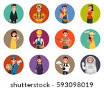 set avatars characters of... | Shutterstock .eps vector #593098019