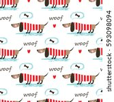 Stock vector seamless pattern with dogs bones and lettering for wrapping paper scrapbook paper bedding pattern 593098094