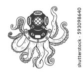 diver helmet with octopus... | Shutterstock . vector #593098640