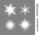 vector glowing light bursts set ... | Shutterstock .eps vector #593099000