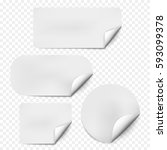 pages curl set with shadow on... | Shutterstock .eps vector #593099378