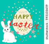 colorful cute happy easter... | Shutterstock .eps vector #593103659