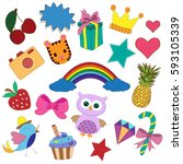 stickers  rainbow  diamond bow  ... | Shutterstock .eps vector #593105339