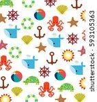 marine  whale  octopus  turtle  ... | Shutterstock .eps vector #593105363