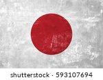 japan   japanese flag on old... | Shutterstock . vector #593107694