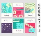 set of creative universal art... | Shutterstock .eps vector #593108018