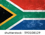south african flag on old... | Shutterstock . vector #593108129