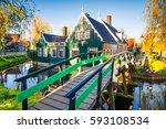 sunny spring scene in zaanse...   Shutterstock . vector #593108534