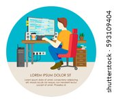 programmer writing code at his... | Shutterstock .eps vector #593109404