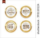 luxury retro golden badges... | Shutterstock .eps vector #593110124
