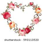 vector decorative heart with... | Shutterstock .eps vector #593113520