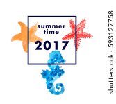 summer time poster 2017 with... | Shutterstock .eps vector #593127758