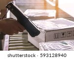 workers checking goods with...   Shutterstock . vector #593128940