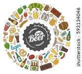 hipster craft beer doodle... | Shutterstock .eps vector #593134046