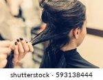 beautiful brunette young woman... | Shutterstock . vector #593138444