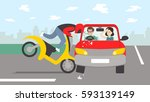 car accident with motorbike.... | Shutterstock .eps vector #593139149