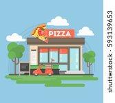 pizza restaurant building.... | Shutterstock .eps vector #593139653