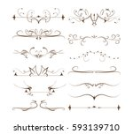 ornamental dividers set on... | Shutterstock .eps vector #593139710