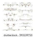 ornamental dividers set on... | Shutterstock .eps vector #593139710