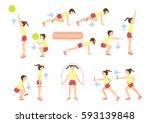 exercises for kids set. workout ... | Shutterstock .eps vector #593139848