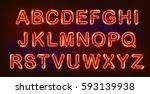 neon alphabet set on black...   Shutterstock .eps vector #593139938