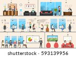 office interior set. business... | Shutterstock .eps vector #593139956