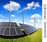 solar panels with wind turbines.... | Shutterstock . vector #593141873