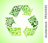 green vector recycle icon | Shutterstock .eps vector #59314333