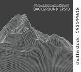 wire frame landscape background.... | Shutterstock .eps vector #593144618