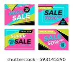 set of colorful trendy sale...   Shutterstock .eps vector #593145290