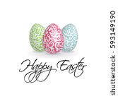happy easter card with a...   Shutterstock .eps vector #593149190