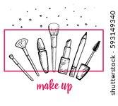 set of make up hand drawn... | Shutterstock .eps vector #593149340